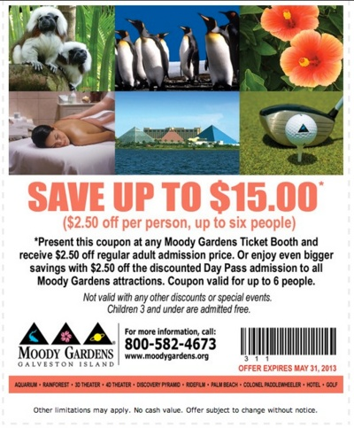 15 coupon for Moody Gardens Coupons, Discounts, and