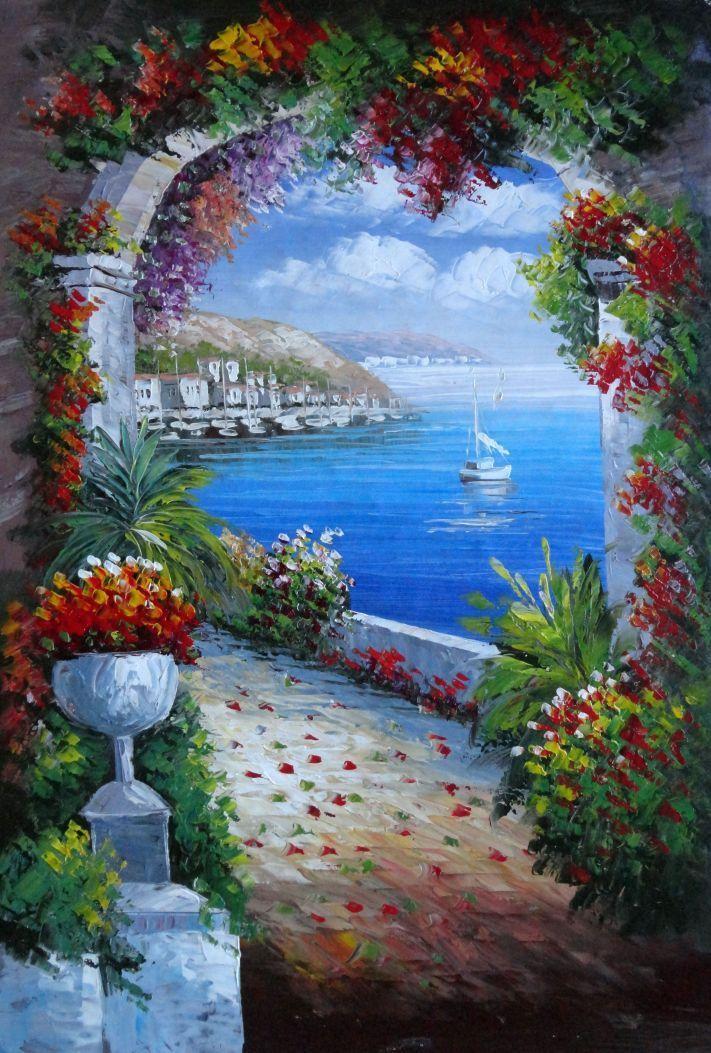 Mediterranean Arch Oil Painting 36 X 24 Inches Walkways