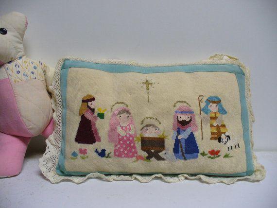 Sweet Vintage Needlepoint Nativity Pillow