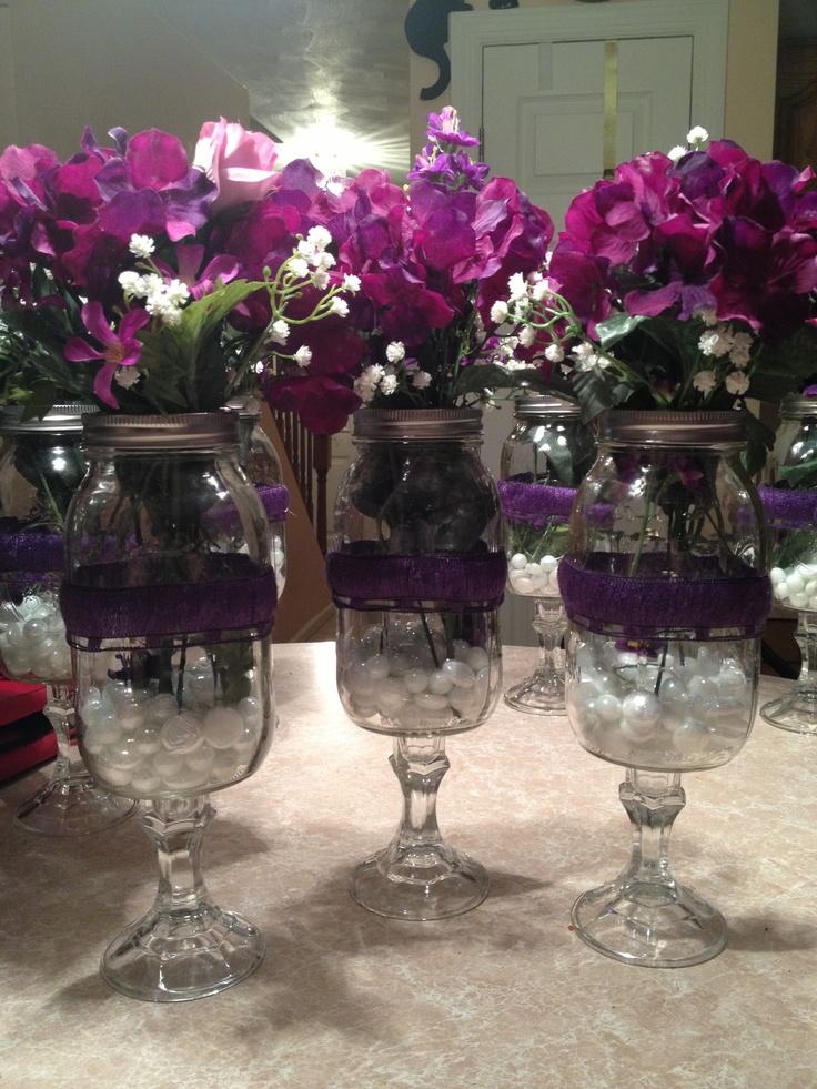 Redneck Wine Glass Flower Vases Centerpieces For My