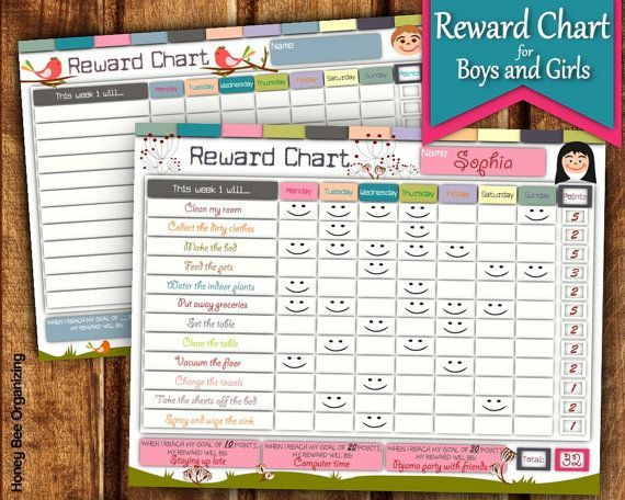 Printable Reward Charts For Kids 6 To 12 Years Old Boys