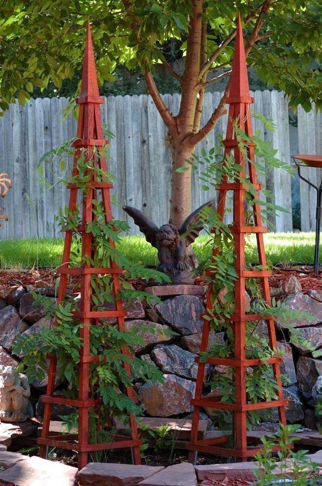 Wood Obelisk Garden Trellis GARDEN Trellis Pinterest