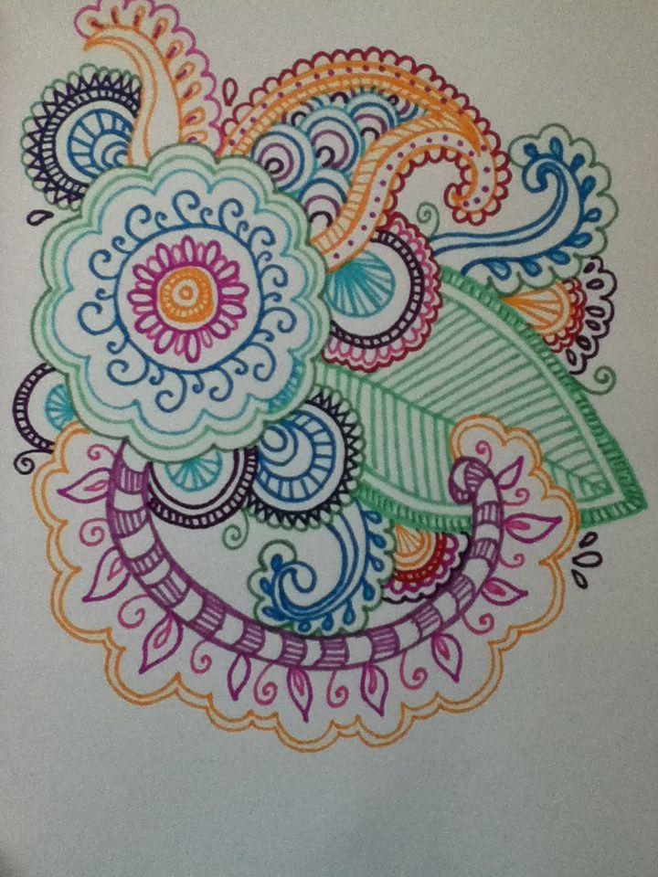 Henna flower design in sharpie When I feel a little