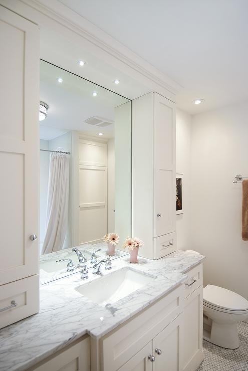 Lejla Eden Interiors Bathrooms Benjamin Moore Cloud White Shaker Cabinets Cloud White