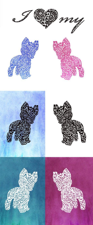 Yorkie Svg Zentangle Silhouette Yorkshire Terrier Clip Art