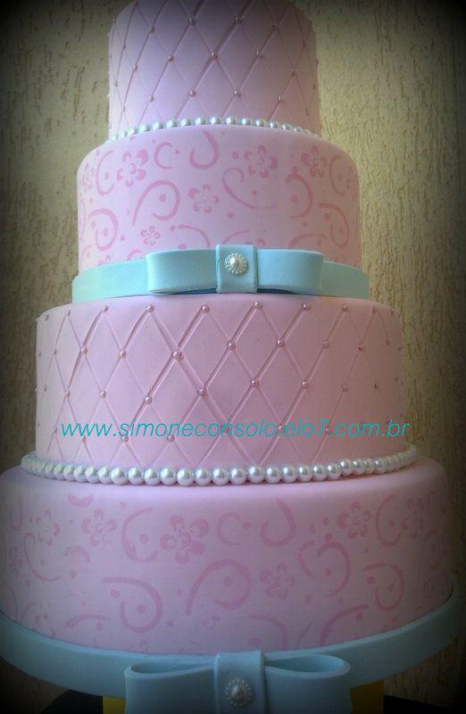 Bolo Rosa E Azul Tiffany Bolos Cenogr 225 Ficos Pinterest