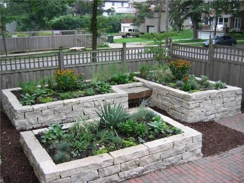 I planned on making a raised bed out of cedar…but this stone is beautiful!  love the little bench…can't wait to garden!