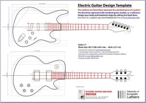 An editable blueprint of a Les Paul and a Stratocaster will serve you as a reference of size and