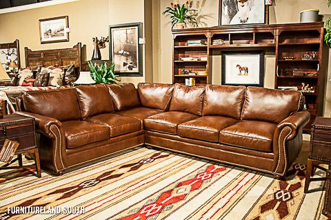 Bradington Young Brown Leather Sectional With Natural Nailhead Trim Furniture Pinterest