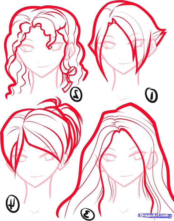 how to draw anime Draw Anime Hair, Step by Step, Anime