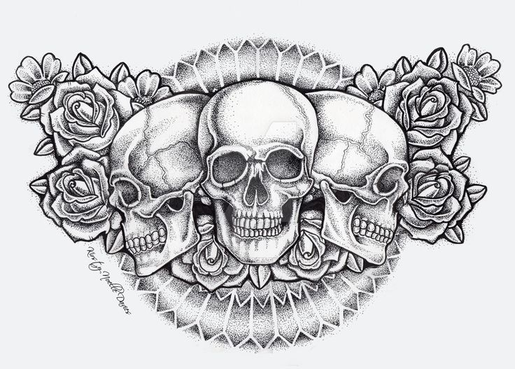 dot skull and roses chest piece tattoo (finished)
