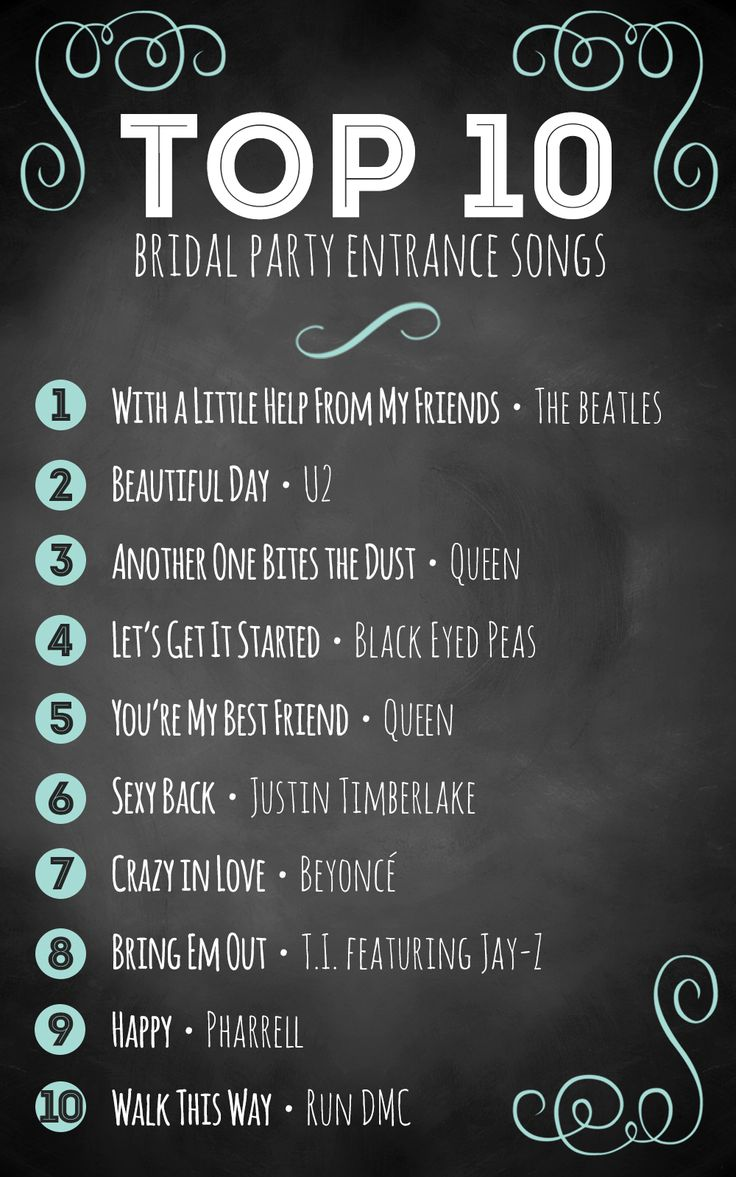 Top 10 bridal party entrance songs The bride, Classic
