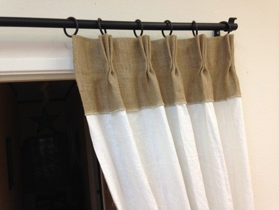 Burlap White Linen Pinch Pleat Drapes With Tie Back By Pillowpuff 9900 Window Treatment