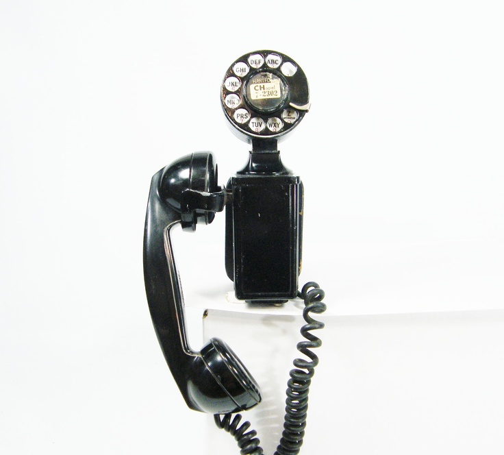 Black telephone rotary dial phone prop wall mount