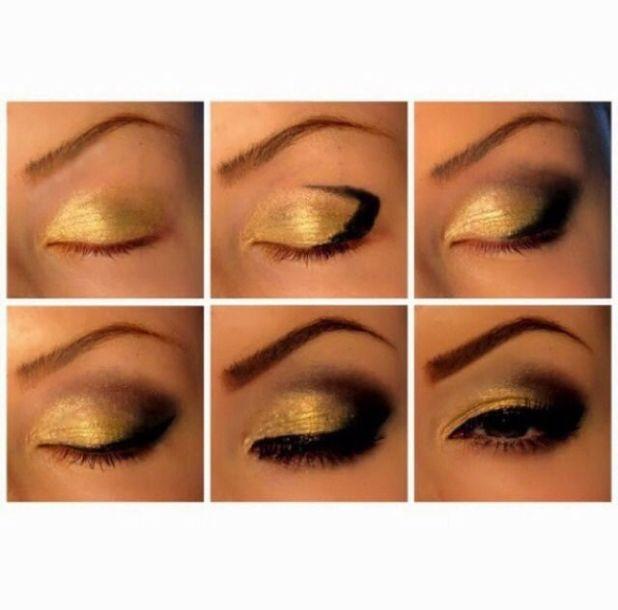 Makeup Tutorial Gold Smokey Eyes Cartoonview