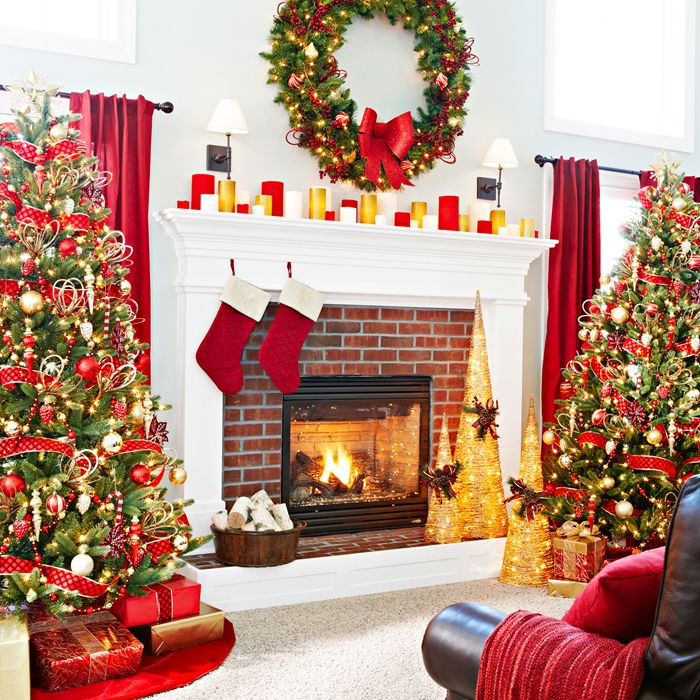 Christmas trees flanking fireplace Holidays Pinterest
