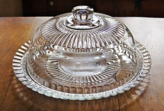 French Glass Cake Plate With Dome Arcoroc France Domed