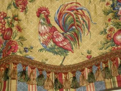 Custom VALANCE French Country Waverly Fabric Gold Red Rooster Toile Stripe Trim Beautiful