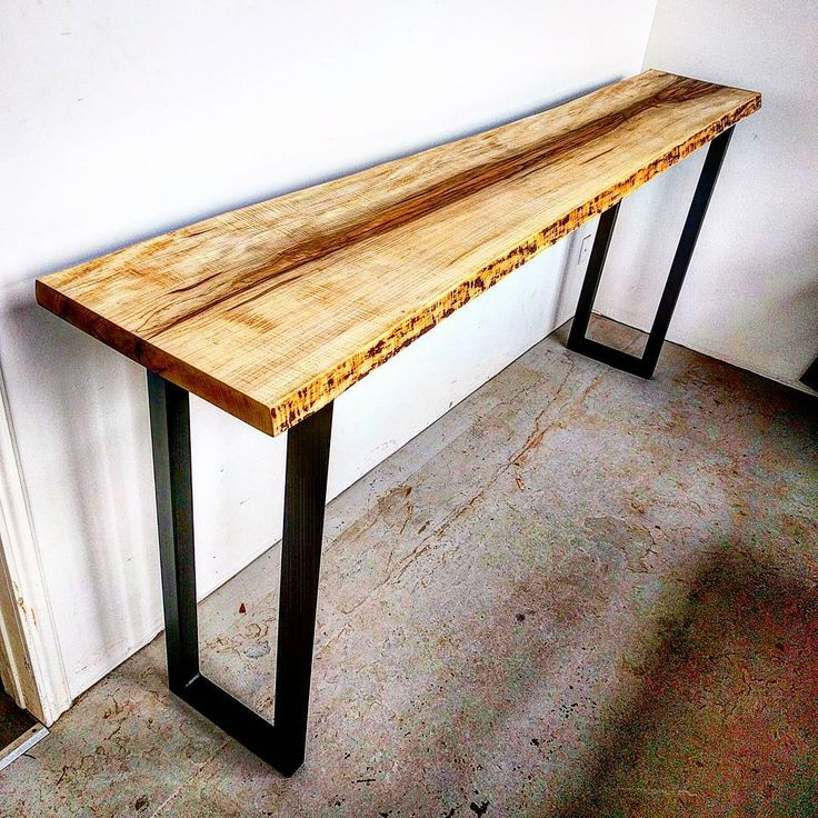 Curly maple live edge console table on raw steel legs by