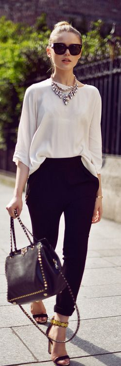 White long blouse, diamond necklace, black Forever 21 pants, and black