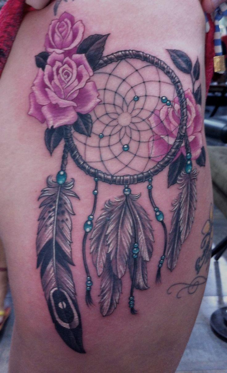 Atrapasueños con Flores Rosas Tatuajes and Ideas