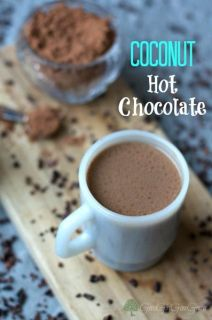 Coconut hot chocolate is the perfect drink on a cold winter day. Grab a mug, fill it up with this coconut hot chocolate and enjoy the chocolatey goodness.: