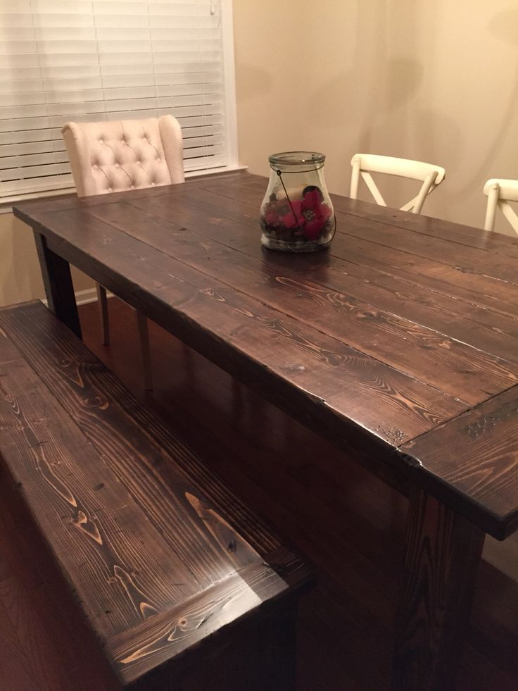 Farmhouse Dining Room Table And Bench Made Using 2x8s For Tops And 4x4s For Legs Assembled