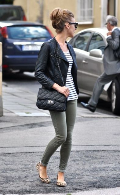 Classic outfit: Striped shirt, olive green skinnies, leopard flats, black leather motorcycle jacket, and a quilted leather bag. <3