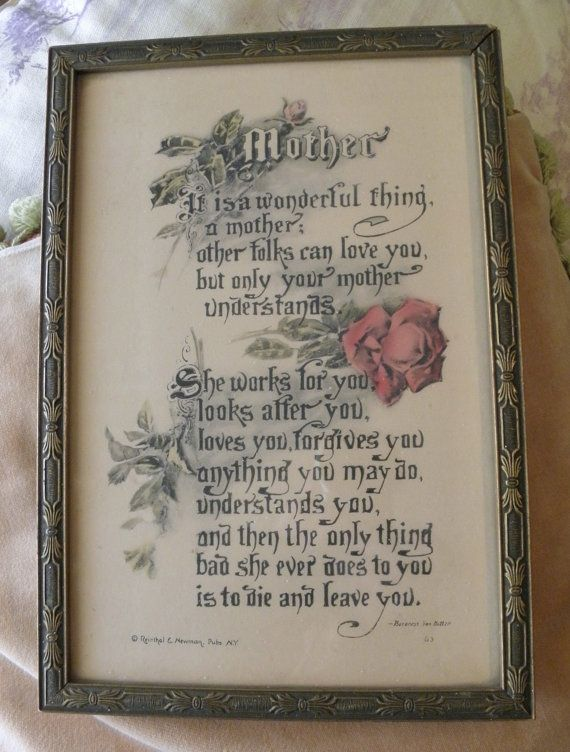 Vintage Mother Poem Mothers Day Picture In Antique Frame