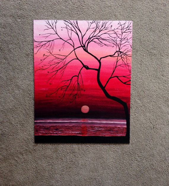 Original Sunset Painting, 20×16 Wall Art, Mother's Day Sale,  Hand painted Sunset Silhouette, Ocean Painting