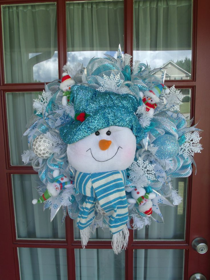 Christmas Blue and White Snowman Deco Mesh Wreath by