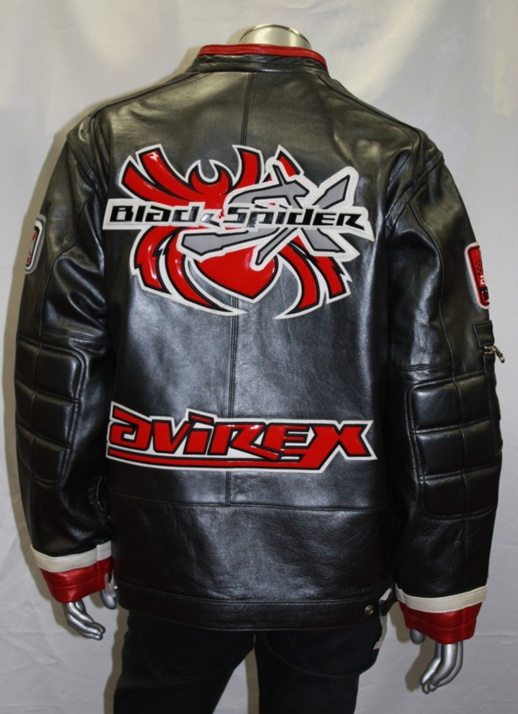 Avirex black metallic spider leather jacket Leather