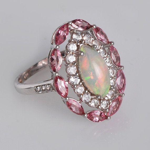 Ethiopian Opal Ring Pink Tourmaline Ring White By