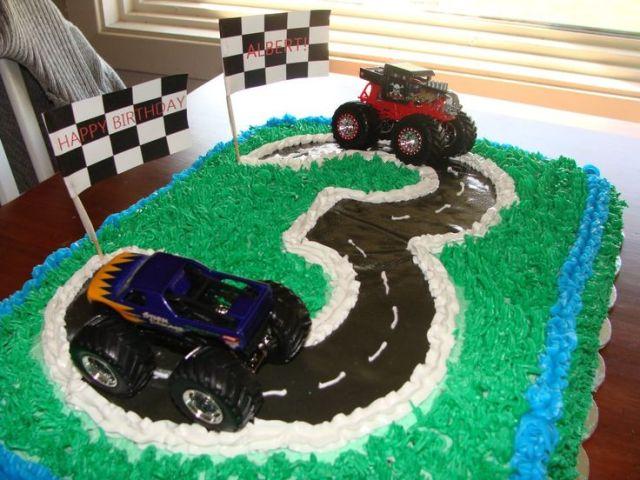 3 year old boy birthday cake grass tip gum paste road