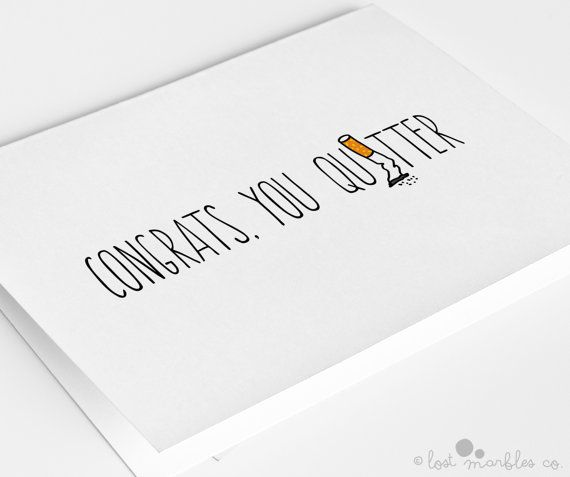 Quit Smoking Card Congratulations Card Congrats Card