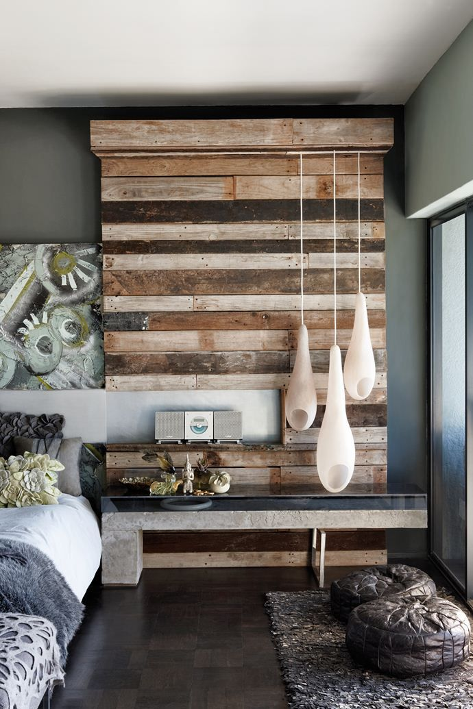 Reclaimed wood into textured, modern rustic wall feature