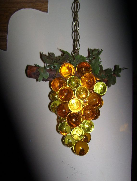 Vintage Grape Cluster Swag Hanging Light Lamp Lucite Resin Acrylic Amber Decoration Dining Room