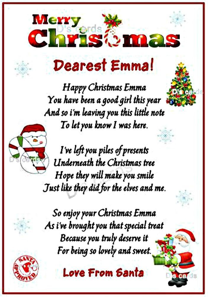 personalized keepsake letter from Santa card boy/girl/ on