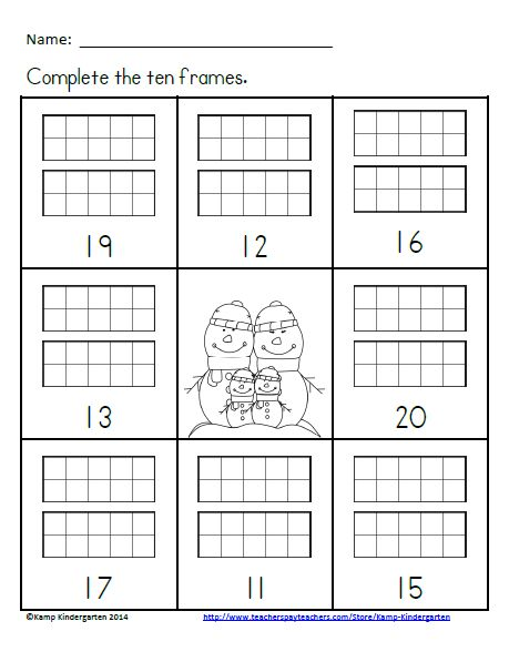 Number Names Worksheets  Tens Frames Template  Free Printable