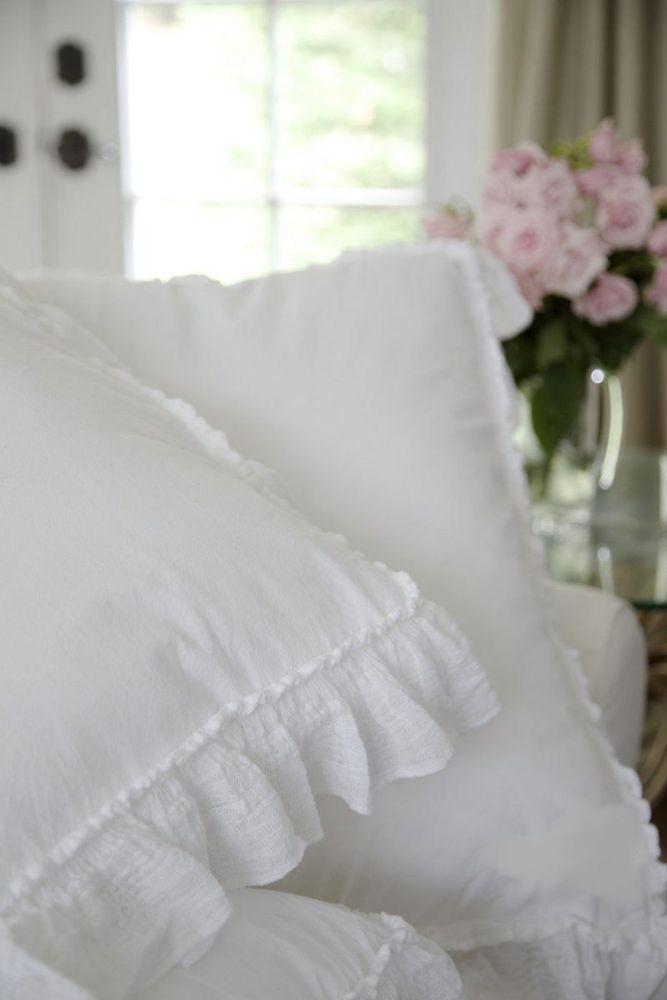 Piu Belle Portugal French Shabby Chic Ruffled KING Duvet Cover Shams Set White BellaNotte