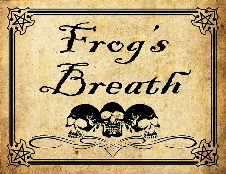 frogs breath potion label Halloween Labels Pinterest