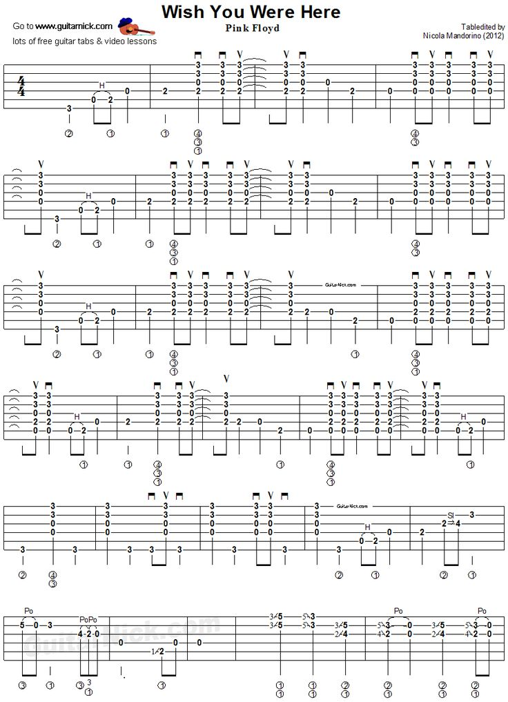 Wish You Were Here Guitar Tab 1 Music Pinterest Heavens 1 And Songs