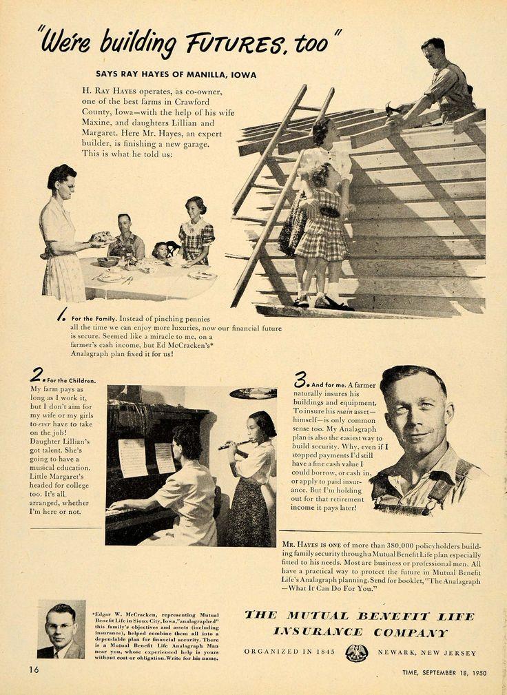 1950 Ad Mutual Benefit Life Insurance H Ray Hayes
