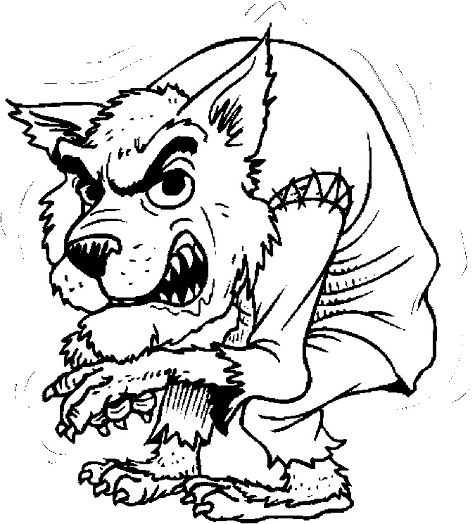 werewolf coloring pages for halloween at coloringbookfun