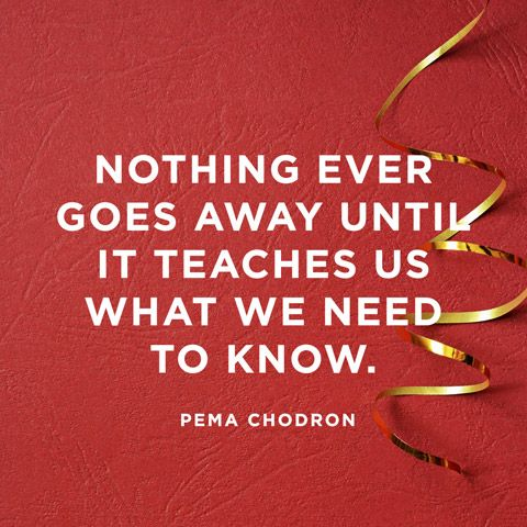 Nothing ever goes away until it teaches us what we need to know. — Pema Chödrön