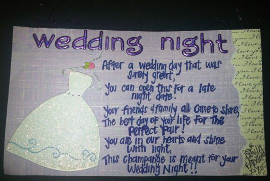 Wedding Night Poem For Wine Basket Back