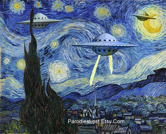 UFO STARRY Night Parody Vincent Van Gogh Space Ship Flying