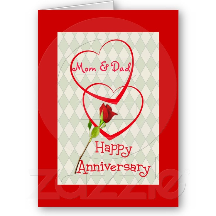Happy Anniversary Mom & Dad, two hearts Card from Zazzle