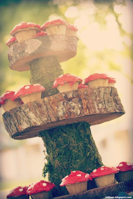 how sweet is this! Woodland Themed party, mushrooms, toad stools, nature, moss