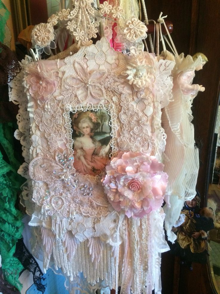 166 Best FabricLace Wall Hangings Images On Pinterest